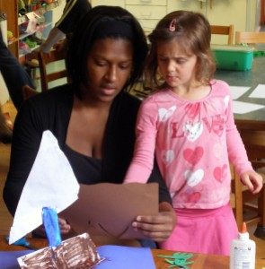 Nursery teacher Jennifer Stuart with a student
