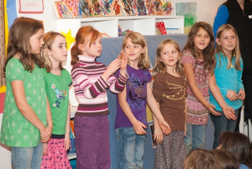 "Natasha's class singing ""Mail Myself to You"""